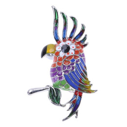 jewelry red birds UK - Colorful Glaze Flying Bird Parrot Brooch Metal Bird Brooch Pins Dress Jacket Pin Badge Gift Jewelry Enamel Decoration Accessory