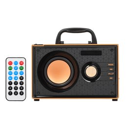Remote sound caRd online shopping - A200 Wooden Bluetooth Speaker w Wireless Stereo Subwoofer Speakers Music Player Support LCD Display FM radio Remote Control TF Handle