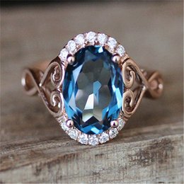 $enCountryForm.capitalKeyWord Australia - Blue Stone Rings for Women Wedding Engagement Gift Crystal Ring Rose Gold Ring Bague Femme Luxury Jewelry Anillos Mujer Z3D170