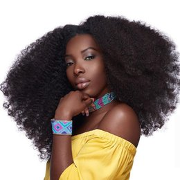 Wholesale 10A Brazilian Remy Afro Kinky Virgin Hair Brazilian Short Natural Black Kinky Curly Afro Curl Human Hair Weave quot quot
