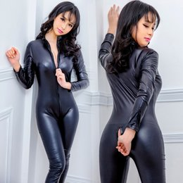 Wholesale women leather jumpsuits for sale – dress Women Sexy Black Open Crotch Zentai Catsuit Jumpsuit Spandex Faux Leather Leggings Pants Club Zipper Long Sleeve