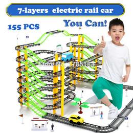 plastic train track set 2018 - 155PCS Set 7-Layers Electric Rail Car Rotary Building Model Kit Sets Train Track Slot Toy Baby Educational Racing Orbit