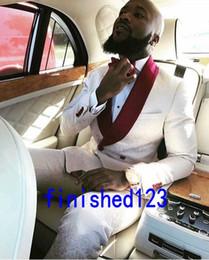 H Suit Australia - High Quality Ivory Paisley Groom Tuxedos Groomsmen Shawl Lapel Best Man Blazer Mens Wedding Suits (Jacket+Pants+Tie) H:951