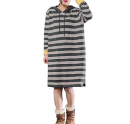 $enCountryForm.capitalKeyWord UK - 2018 hot-sell new fashion novel design Europe and the United States loose long-sleeved round collar stripe dress long sleeve T-shirt hot sty