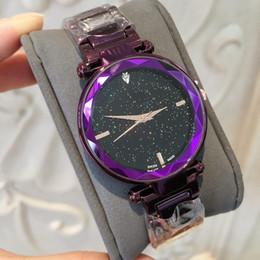 b3c56fecaa96 ... Púrpura   azul Reloj de Las Mujeres de Moda de Lujo de acero inoxidable  Diseño Relojes De Marca Mujer Vestido de dama reloj con cielo estrellado  Dial