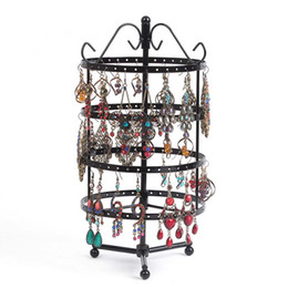 round jewelry display stand NZ - 72 Pairs Round Revolving Earring Holder for Necklace Organizer Stand 4 Tiers Multifunctional Iron Jewelry Display Rack Towers