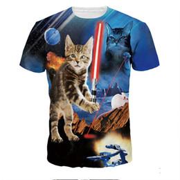 Guerra Luta gato t-shirt 3D Homens Engraçados Gatos Impresso camisetas Novo Chegada 2018 Hot Streetwear Camisetas Plus Size Harajuku Tops em Promoção