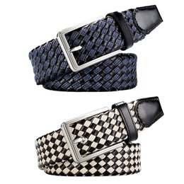 0ac802060 8PCS LOT SINGYOU Knitted Belt for Men Fashion Tide Plaid Pin Buckle Belt  Jeans Pants Strap Male Waistband Ceinture