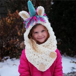 Discount wholesale nursing hats - Children unicorn scarf cap 2 in 1 Kids Infant Llama Warm Knitted Hats AMUSE cartoon warmer Winter crochet Hat AAA1014