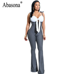 3a0a243271e wholesale Rompers Womens Jumpsuit Summer Bow Striped Ladies Jumpsuits  Sleeveless Party Club Overalls Women Wide Leg Pants
