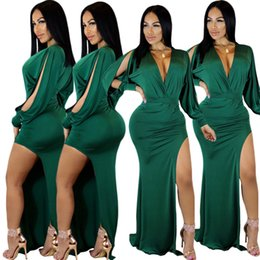 3af7087cef Sexy Irregular Side Split Mermaid Green Evening Dress 2018 Hot Sale Deep v  Neck Hollow out Long Sleeves Fashion Party Dress In Stock