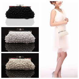 Wholesale 2019 Square Pearls Rhinestone Beaded Ladies Hand Bags Cheap Bridal Wedding Hand Bags Accessories Evening Handbags Crutch Bag One Shoulder