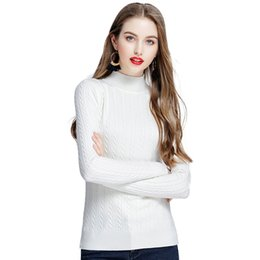 bb3969c654 Women Knitted Sweaters and Pullovers Solid Cable Twist Ribbed Knitwear Top  Turtleneck Long Sleeve Winter Slim Casual Pull Femme