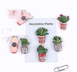 Wholesale Cactus Plants Fridge Magnets Kawaii Decorative Sticker Refrigerator Magnet Magnetic Stickers Home Decoration Designs FMR001