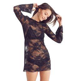 6797ccdaa26 Sexy Women Sheer Lace Dress Long Sleeves O-neck Casual Mini Dress 2019  Summer Black See-through Dress Transparent Women Clothing