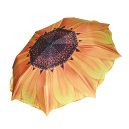 7bb7ce051 Umbrella Rain Women 3D Sunflower Three Folding Windproof Anti UV Parasol  Sunny Rainy Women's Umbrella Ship From Russia