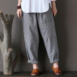 cc9d337c37063 5XL Plus Size ZANZEA Women Striped Pants Elastic Waist Cotton Linen Pantalon  Loose Long Harem Trousers Casual Baggy Streetwear D1892603