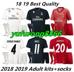 015ba771b 18 19 Real madrid men kit soccer jersey home away 3rd adult kit with sock  ASENSIO BALE RAMOS BENZEMA 2018 2019 new football shirtS set