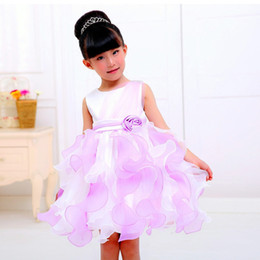 Autumn Colored Wedding Dresses UK - Cute Flower Girl Princess Dress Kid Colored flower skirt Baby Party Wedding Pageant Formal Dresses Clothes
