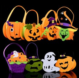 Face tote online shopping - Halloween Pumpkin Candy Bag Trick Treat Cute Smile Basket Face Children Gift Handhold Pouch Tote Bag Non woven Pail Props Decoration GGA730