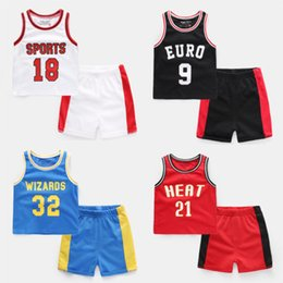 boys basketball shorts wholesale UK - 2018 Summer New Baby Boy Clothes Sets Sports Childrens Clothing Boys Vest Shirt Shorts Suit Basketball Kids Clothing Football Kits 5 Colors