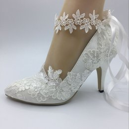 Silk Shoe Laces NZ - Imit Silk Wedding shoes Satin Ivory bride wedding Pointed Toe dresses diamond lace manual wedding BRIDAL HEEL shoes New EU35-42 AAA3
