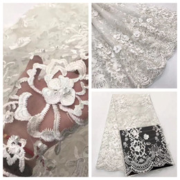 Wholesale Beaded Lace Appliques Canada - High Quality Mesh Nigerian Lace Fabrics Tulle Beaded African Lace Fabric Applique Guipure French Net Lace for Dress A18040401S