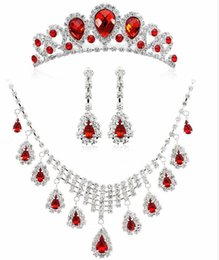Crystal Flowers For Weddings Australia - Crystal Pearl Flower Bride 3 Pcs Set Necklace Earrings Wedding Tiara Wedding Jewelry Set Accessories For Women Red White