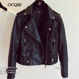 Korean Motorcycle Jacket Australia - 2018 Spring Black Casual Bombers Jacket Pu Leather Motorcycle Jacket New Korean Fashionable Women Coat