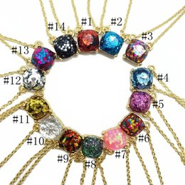 142d927b49b0 Marca de lujo Glitter Druzy Drusy Colgante Collar Para Las Mujeres de Moda  Chapado En Oro Popular Plaza de Piedra Preciosa Piedra Colgante Collares  Joyería ...