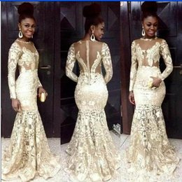 Champagne mermaid style prom dresses online shopping - South African Style Prom Dresses Lace With Appliques Jewel Long Sleeve Mermaid Sexy Back And Button Formal Evening Dresses Party Dress