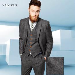 $enCountryForm.capitalKeyWord NZ - Tweed Herringbone Grey Suits Men Formal Skinny Wedding Tuxedo Gentle Modern Blazer 3 Piece Men Suits(Jacket+Pants+Vest) custom size color