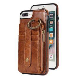 Vente en gros Étui en cuir rétro divisé Kickstand pour Iphone 7 7 Plus 6 6s Plus portefeuille cas de téléphone couverture de fente pour carte pour iPhone X 8 8 Plus, S7 S8
