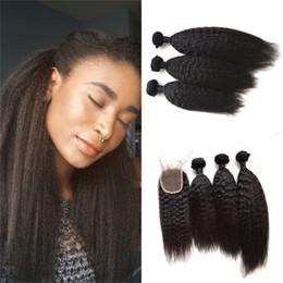 Discount hair bundles closures sale - Human Hair Bundles With Lace Closures 4x4 Kinky Straight Virgin Hair Weaves Closure G-EAS YHot Sale