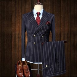$enCountryForm.capitalKeyWord Australia - 2018 Custom Stripe Men Suit For Wedding 2pieces Slim Fit Tuxedos Masculino Latest Groom Prom Mens Suits (Jacket+Pants+Tie)
