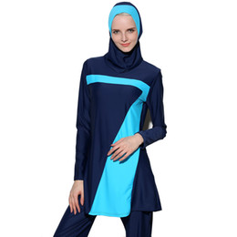 swimwear push ups UK - New Push Up long sleeve Muslim Swimwear islamic swim wear For Women Plus Size Modest Hijab Islamic Swimsuit Burkinis