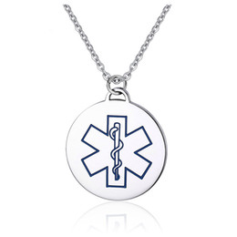 "medical alert jewelry UK - Custom Stainless Steel Medical Alert ID Necklace Round Dog Tag For Men With 20"" Chain Jewelry Blue Red Color Available"