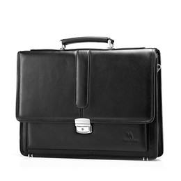 $enCountryForm.capitalKeyWord Canada - Wholesale- Free Shipping Hot Men's Genuine Leather Vintage Frmal Business Lawyer Briefcase Messenger Shoulder Attache Portfolio Tote T8880