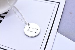 astrology pendants NZ - 10pcs Celestial Gemini Constellation Necklace Star Sign Gemini Zodiac Pattern Coin Necklace Jewelry Astrology Pendant Necklace Birthday Gift