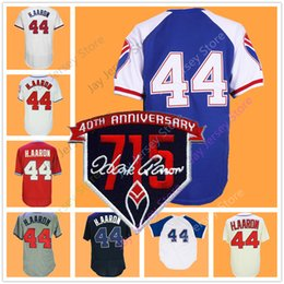 Button downs online shopping - Hank Aaron Jersey with Patch Vintage Cream White Red Grey Pullover Zipper Button Down Home Away