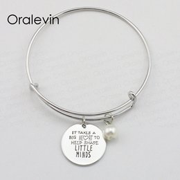 China IT TAKES BIG HEART TO HELP SHAPE LITTLE MINDS Inspirational Hand Stamped Engraved Pendant Bracelet Jewelry,10Pcs Lot, #LN1943B cheap hand help suppliers