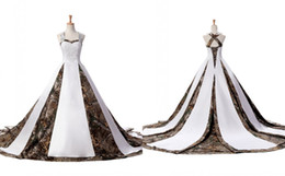 Backless Wedding Dress Designers UK - Modern Camo Wedding Dress Plus size Women With Straps Unique Back Designer Corset Court Train Satin Applique Lace Cheap Bridal Gowns
