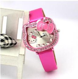 783218b6d6d Wholesale New Leather Crystal Wrist Watch Kids Women Children Girls Cartoon  Fashion Hello Kitty quartz watch clock Relojes