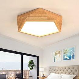 Japanese Style Modern LED Wood Ceiling Lights In Geometric Shape Lamparas  De Techo For Bedroom Balcony Corridor Kitchen Lighting Fixtures