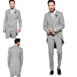 $enCountryForm.capitalKeyWord Canada - Men Suits Grey Long Tailcoat Wedding Groom Tuxedos Jacket Custom Made Morning Dinner Groomsmen Suits 3 Pieces Classic Pants Best Man