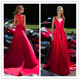Wholesale A Line Prom Dresses With Lace Appliques back Cover with lace V Neck Long Evening Gowns Formal Dresses Evening Wear