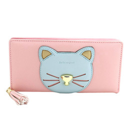 China HOT 2017 New Fashion PU Leather Women Wallet Cute Cat Brand Lady Wallets Mobile Bags Handbag Female Purse Clutch Color Wholesale supplier black leather cat purse suppliers