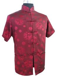 Vintage Collared Shirts Australia - Fashion Trends Burgundy Men's Silk Satin Shirt Top Chinese Vintage Mandarin Collar Kung Fu Tang Suit S M L XL XXL XXXL M0016