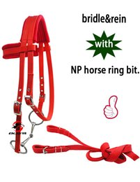 Nickle Free Rings Australia - Free shipping horse bridle with rein ,horse halter with cushion,metal eyelet,nickle plated horse ring bit.(QY5001)