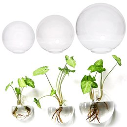 Discount glass hanging ball terrarium - 3 Size Hanging Flower Pot Glass Ball Vase Terrarium Wall Fish Tank Aquarium Container Home AAA507